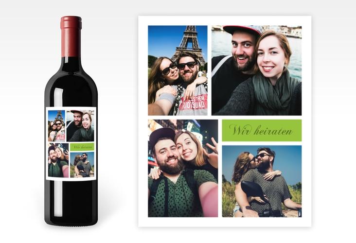 """Weinetikett zur Hochzeit """"Collage"""" Etikett Weinflasche 4er Set gruen"""
