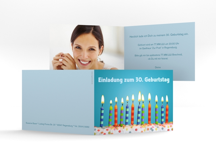 """Einladungskarte """"Candles"""" A6 Klappkarte Quer tuerkis"""
