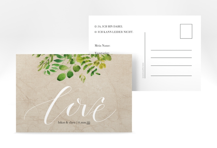 "Antwortkarte Hochzeit ""Botany"" A6 Postkarte beige"
