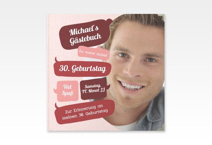 "Gästebuch Selection Geburtstag ""Whatsup"" Leinen-Hardcover rot"