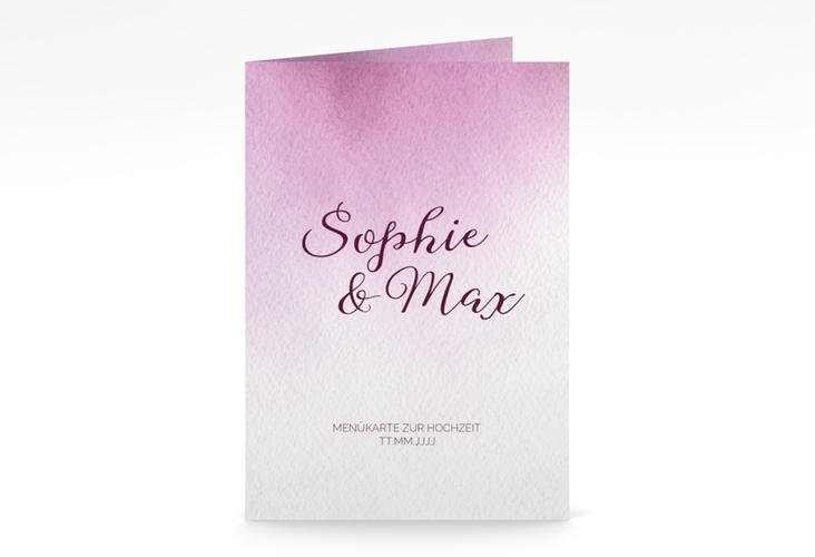 "Menükarte Hochzeit ""Ombre"" DIN A5 geklappt rosa"