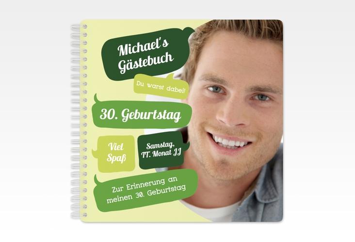 """Gästebuch Geburtstag """"Whatsup"""" Ringbindung gruen"""