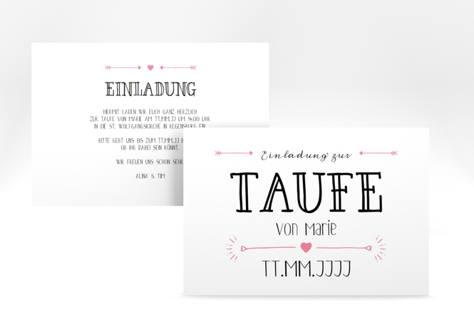 "Taufeinladung ""Lettering"" A6 Karte"