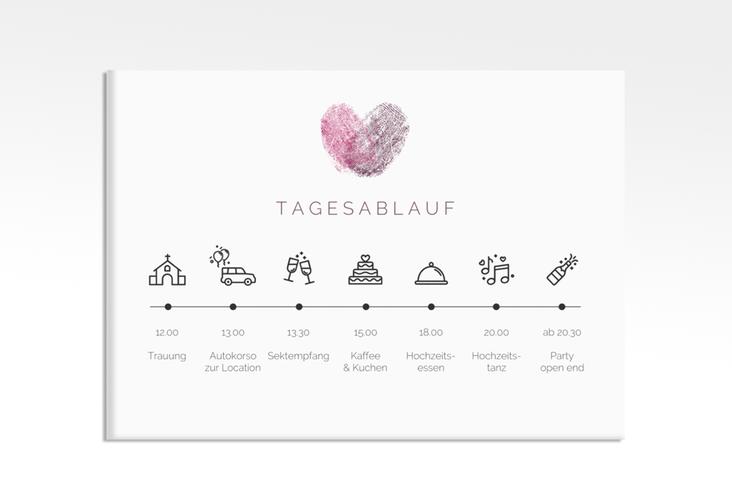 """Tagesablauf Leinwand Hochzeit """"Fingerprint"""" 70 x 50 cm Leinwand pink"""