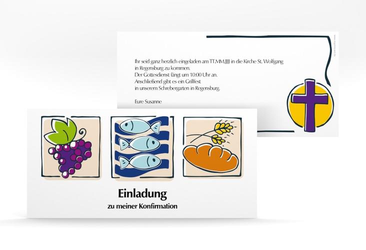 "Konfirmationseinladung ""Symbole"" DIN lang"