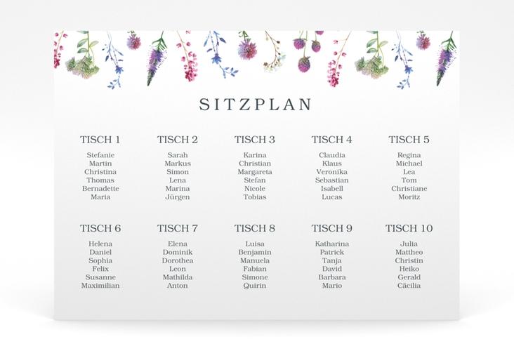 """Sitzplan Poster Hochzeit """"Wildblumen"""" 70 x 50 cm Poster"""