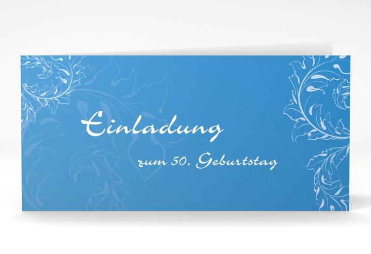 """Einladungskarte """"Peter/Petra"""" DIN lang Klappkarte blau"""