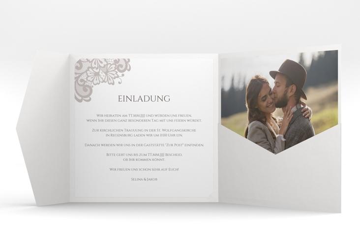 """Hochzeitseinladung """"Vintage"""" Pocketfold grau"""