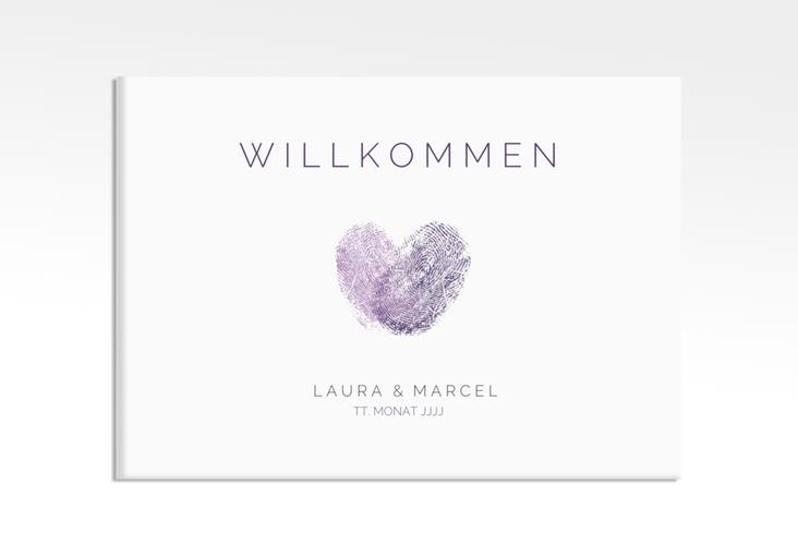 """Willkommensschild Leinwand """"Fingerprint"""" 70 x 50 cm Leinwand lila"""