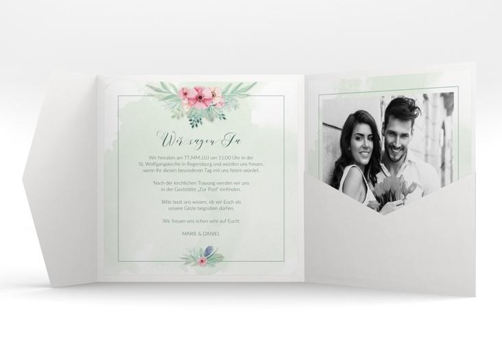 """Hochzeitseinladung """"Surfinia"""" Pocketfold gruen"""