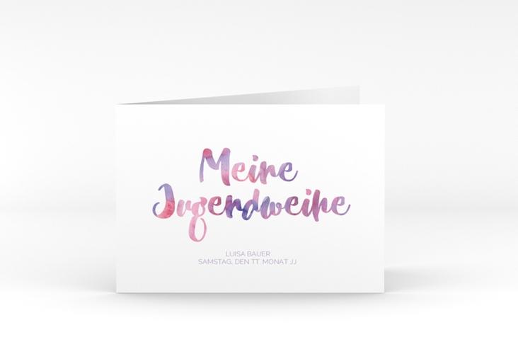 """Einladungskarte Jugendweihe """"Multicolored"""" A6 Klappkarte Quer flieder"""