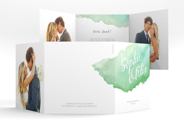 "Dankeskarte Hochzeit ""Aquarella"" Quadr. Karte doppelt gruen"