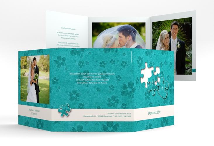 """Dankeskarte Hochzeit """"Ravensburg"""" Quadr. Karte doppelt tuerkis"""