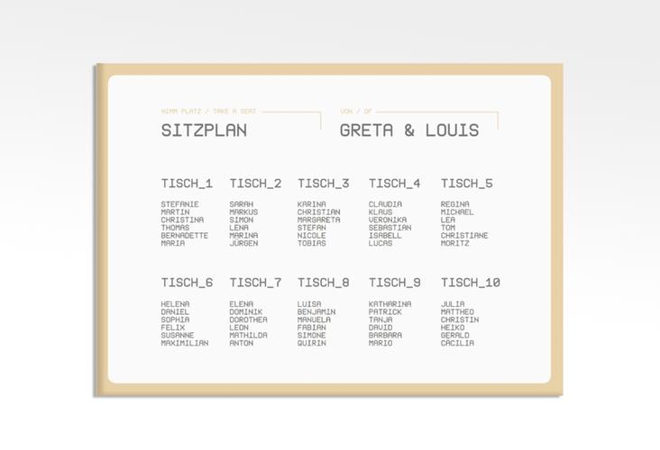 "Sitzplan Leinwand Hochzeit ""Weddingpass"" 70 x 50 cm Leinwand beige"
