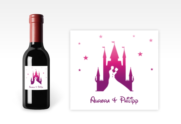 "Piccoloetikett Hochzeit ""Castle"" Etikett Piccolo pink"