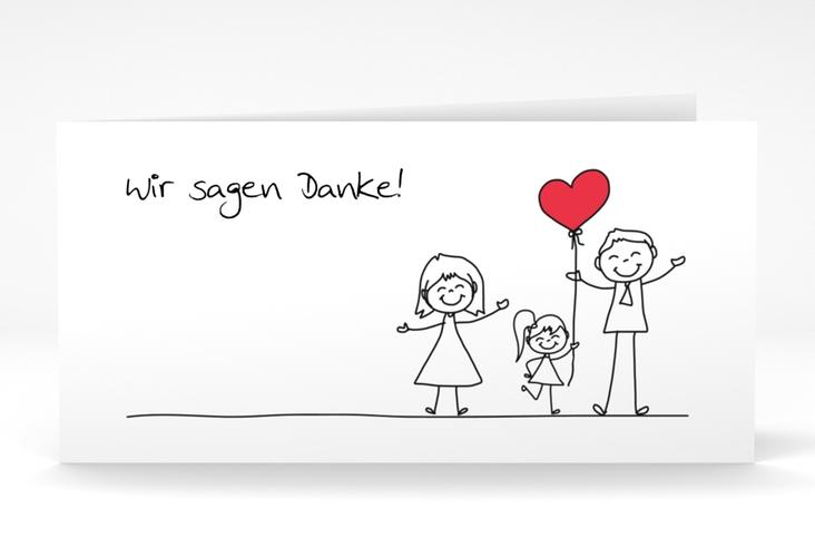 "Danksagungskarte Hochzeit ""Familia"" DIN lang Klappkarte weiss"