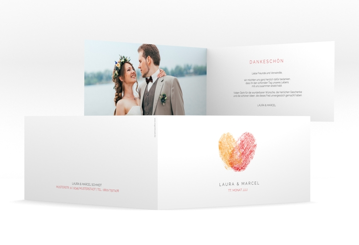 """Dankeskarte Hochzeit """"Fingerprint"""" DIN lang Klappkarte rot"""