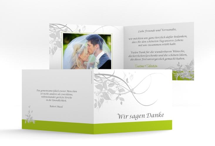 """Danksagungskarte Hochzeit """"Florenz"""" A6 Klappkarte Quer gruen"""