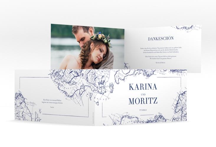 """Danksagungskarte Hochzeit """"Voyage"""" DIN lang Klappkarte"""