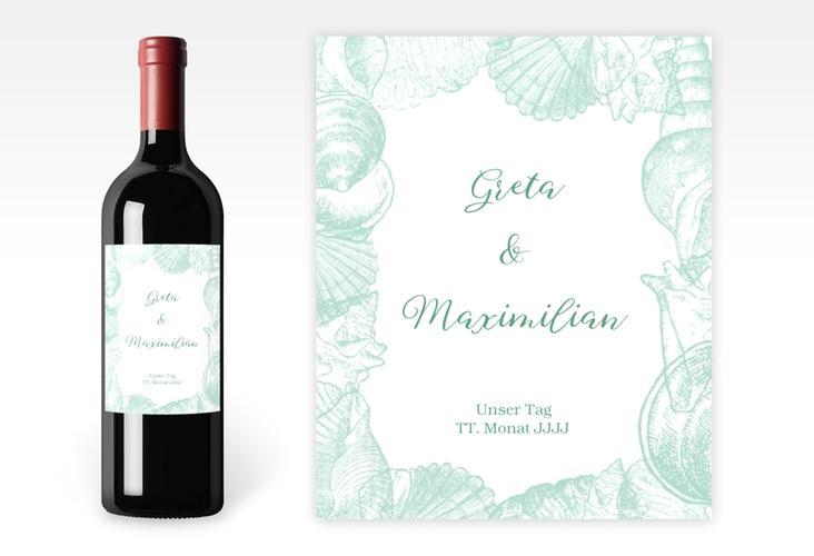 """Weinetikett zur Hochzeit """"Muschelreich"""" Etikett Weinflasche 4er Set mint"""