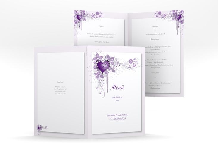 """Menükarte Hochzeit """"Triest"""" DIN A5 geklappt lila"""