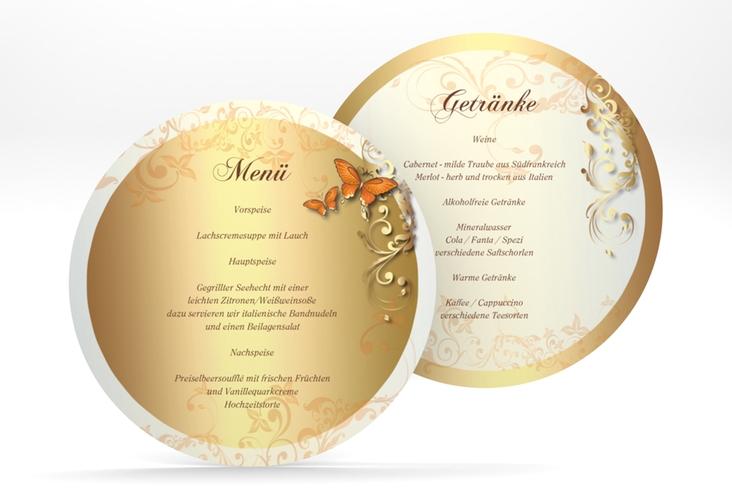 """Menükarte Hochzeit """"Toulouse"""" rund orange"""