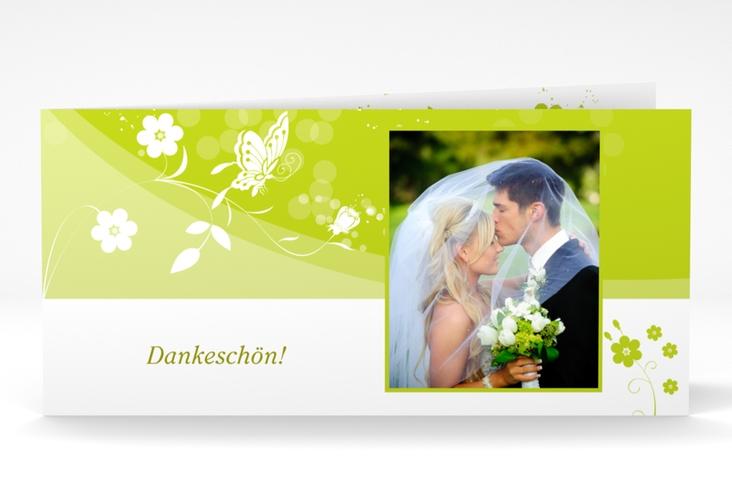 "Danksagungskarte Hochzeit ""Verona"" DIN lang Klappkarte gruen"