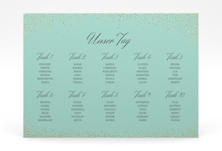 """Sitzplan Poster Hochzeit """"Glitter"""" 70 x 50 cm Poster mint"""