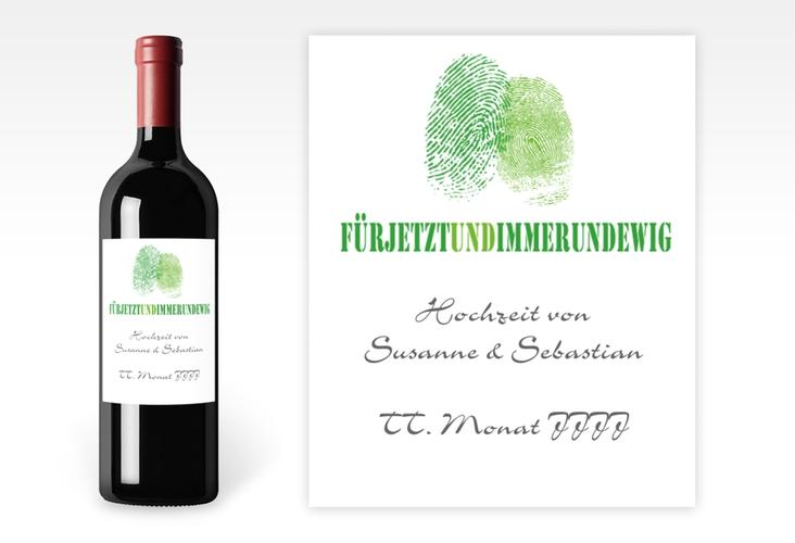 """Weinflaschenetikett Hochzeit """"Messina"""" Etikett Weinflasche 4er Set gruen"""