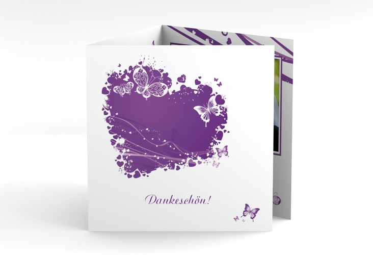 "Danksagungskarte Hochzeit ""Mailand"" Quadr. Karte doppelt lila"