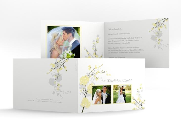 """Danksagungskarte Hochzeit """"Salerno"""" A6 Klappkarte Quer gelb"""