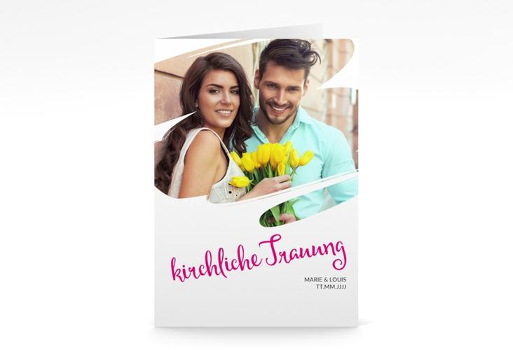 """Kirchenheft Hochzeit """"Felice"""" DIN A5 geklappt pink"""