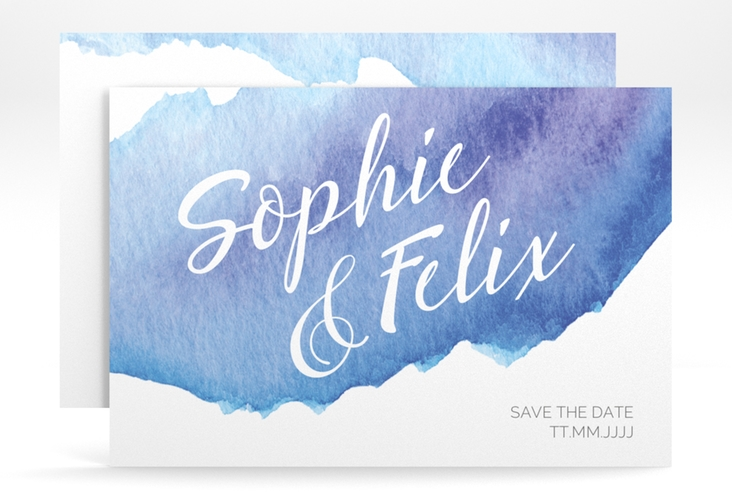 "Save the Date-Karte ""Aquarella"" A6 quer blau"