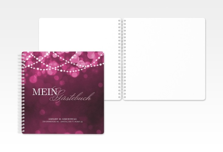 "Gästebuch Geburtstag ""Girlande"" Ringbindung pink"