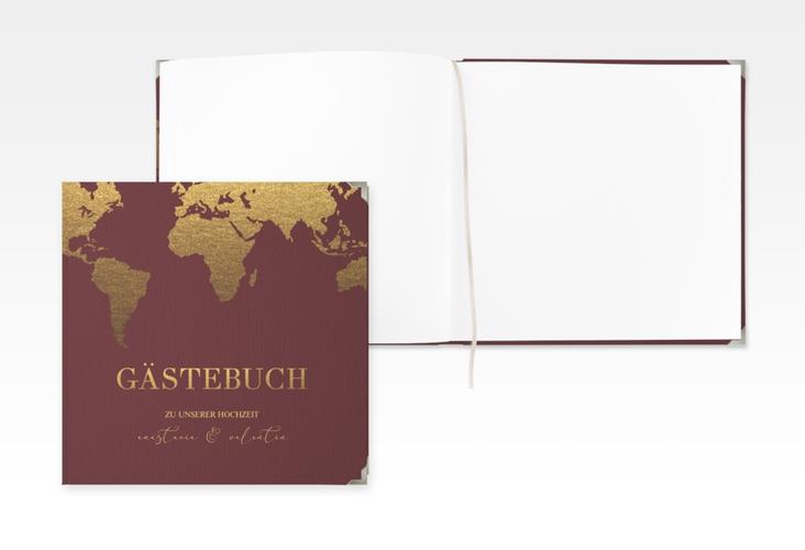 """Gästebuch Selection Hochzeit """"Traumziel"""" Leinen-Hardcover rot"""