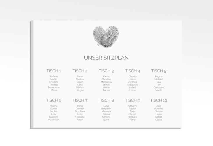"Sitzplan Leinwand Hochzeit ""Fingerprint"" 70 x 50 cm Leinwand schwarz"