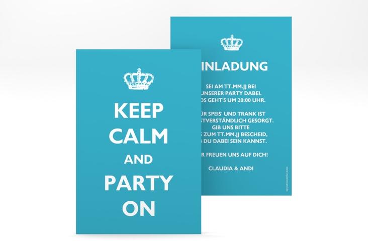 """Party Einladungskarte """"Statement"""" A6 hoch tuerkis"""