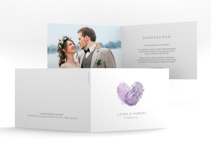 """Dankeskarte Hochzeit """"Fingerprint"""" A6 Klappkarte Quer lila"""