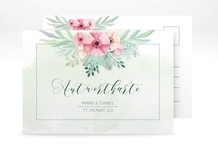 """Antwortkarte Hochzeit """"Surfinia"""" A6 Postkarte gruen"""