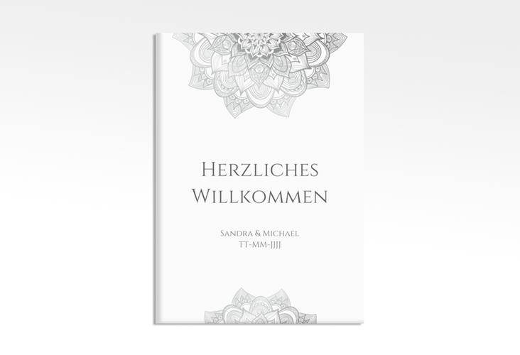 """Willkommensschild Hochzeit """"Delight"""" 50 x 70 cm Leinwand grau"""