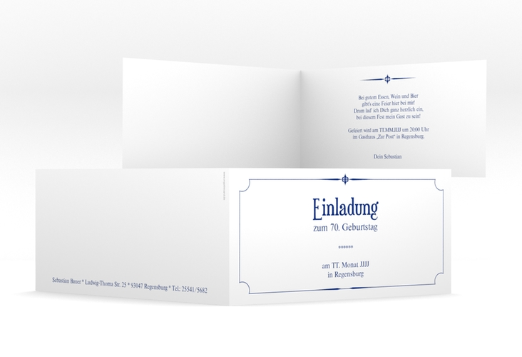 """Einladungskarte """"Helmut/Helmine"""" DIN lang Klappkarte blau"""