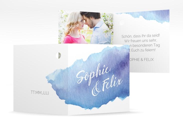 """Geschenkanhänger Hochzeit """"Aquarella"""" Geschenkanhänger 10er Set blau"""