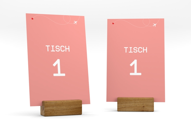 """Tischnummer Hochzeit """"Weddingpass"""" Tischaufsteller rosa"""