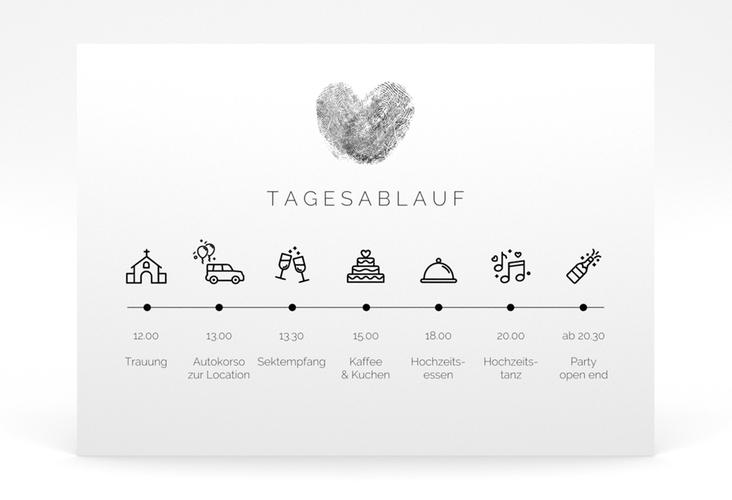 """Tagesablauf Poster Hochzeit """"Fingerprint"""" 70 x 50 cm Poster schwarz"""
