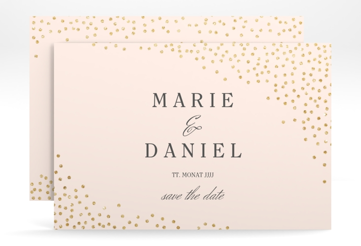 "Save the Date-Karte ""Glitter"" A6 quer rosa"