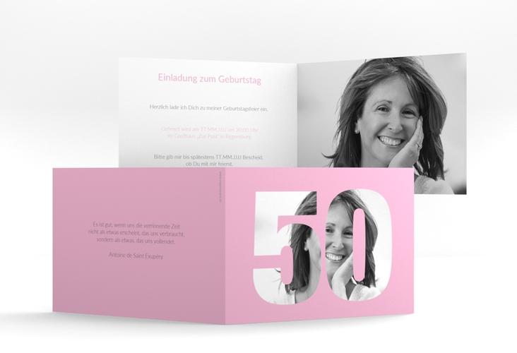 """Einladungskarte """"Numbers"""" A6 Klappkarte Quer rosa"""