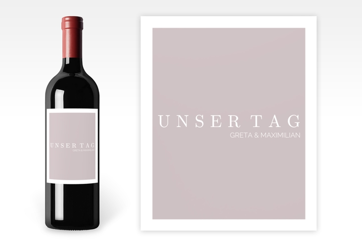 """Weinetikett zur Hochzeit """"Simply"""" Etikett Weinflasche 4er Set grau"""