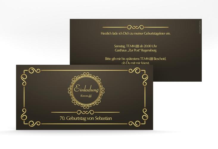 """Einladungskarte """"Bert/Berta"""" DIN lang braun"""