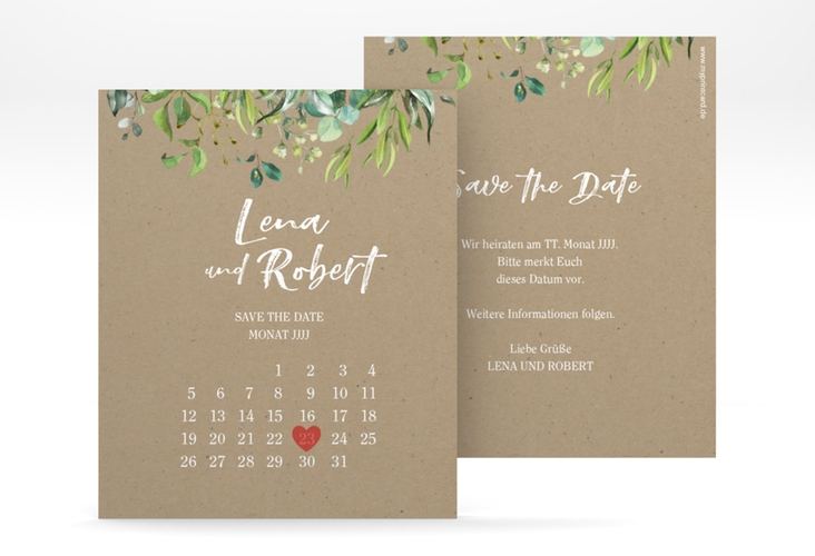 "Save the Date-Kalenderblatt ""Natural"" Kalenderblatt-Karte beige"