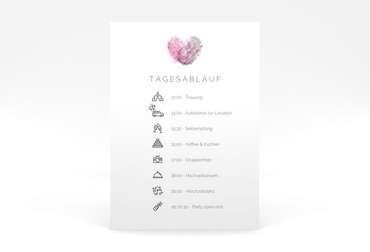 """Tagesablauf Poster Hochzeit """"Fingerprint"""" 50 x 70 cm Poster pink"""